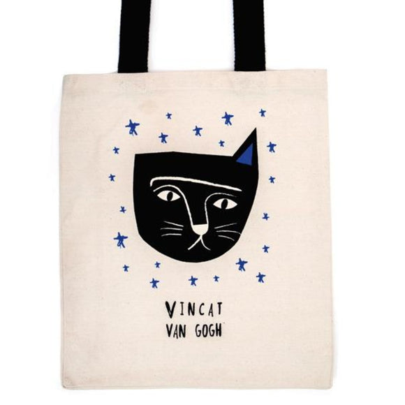 Image of a tote bag in the center, with an illustration of a feline inspired cat portrait of Vincent van gogh with some stars around it