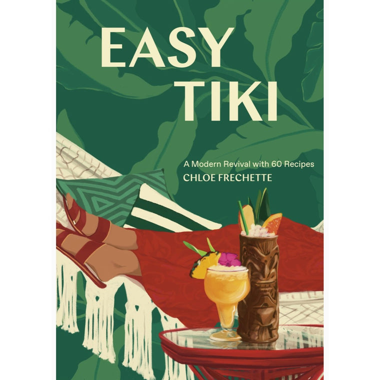 Image featuring a book cover in the center featuring a graphic illustration of a Tiki themed environment