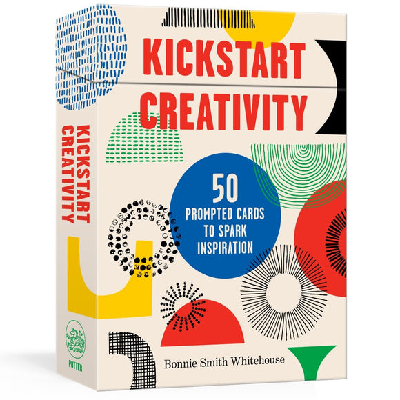 Image featuring a card deck packing with includes a variety of patterns in different colours and the text saying: Kickstart creativity - 50 prompted cards to spark inspiration