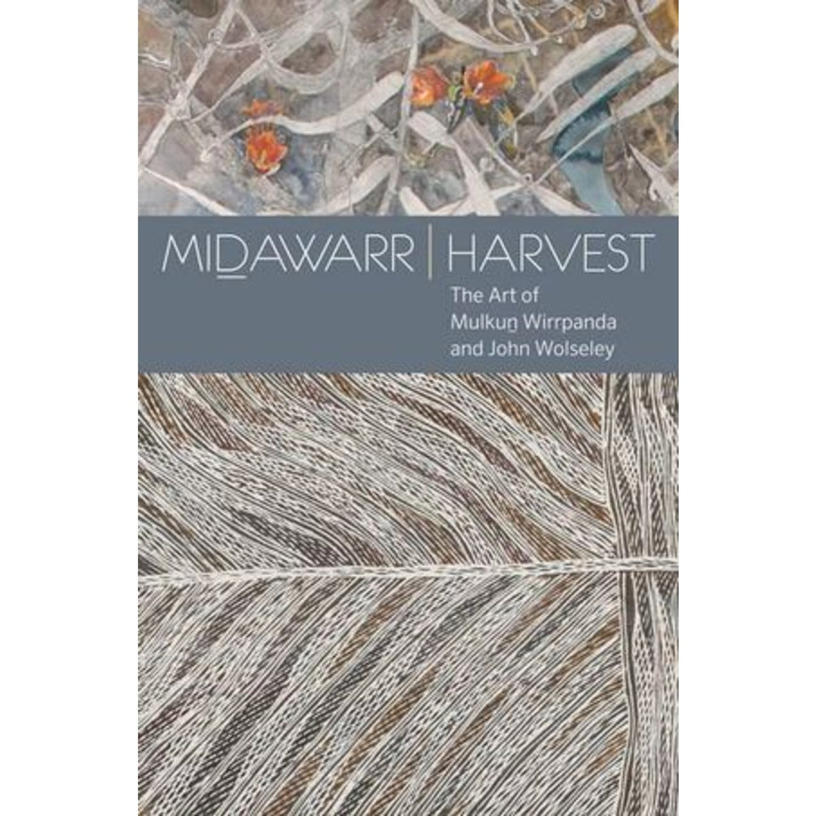 Image featuring a book cover which includes two different styles of artworks which both includes the image of leaves, it includes a grey banner which has white text saying Midawarr Harvest: The art of Mulkun Wirrpanda and John Wolseley