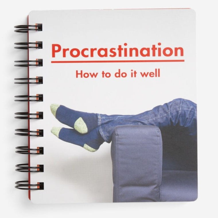 Image of a book cover featuring a white background with a pair of feet hanging over a couch with red text above it saying Procrastination: How to do it well