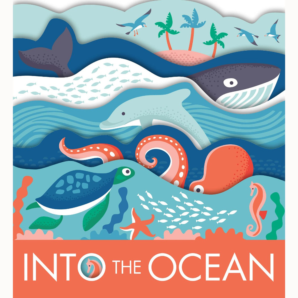 A Childrens Board Book featuring multiple layered pages. Childrens illustrations show various sea creatures in a Blue, Green, coral and Pink colour scheme.