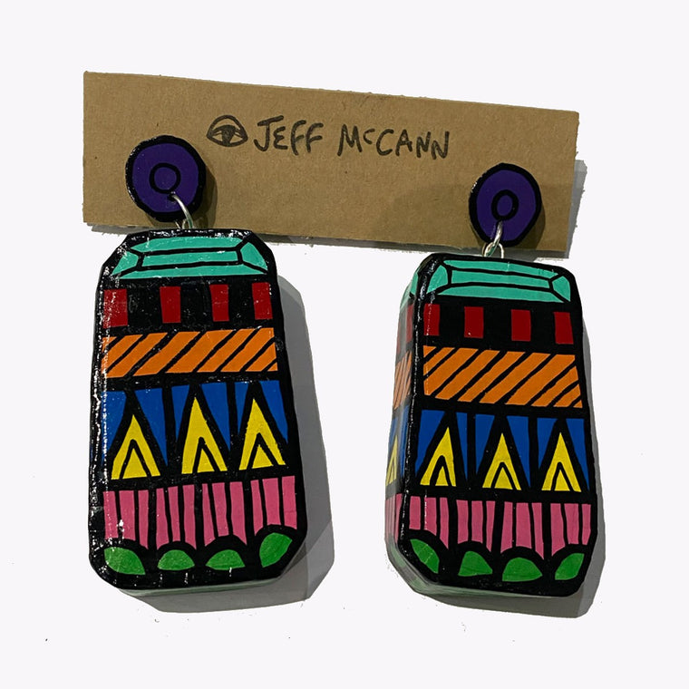 A 3D and sculptural pair of Jeff McCann drop earrings featuring abstract gemstone inspired pattern in green, pink, yellow ,blue, orange, red and turquoise