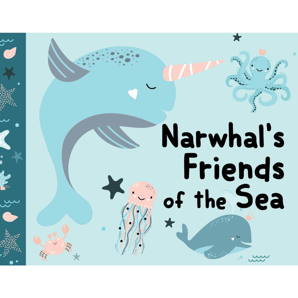 A Blue toned book cover featuring an illustration of a Narwhal and other sea creatures.
