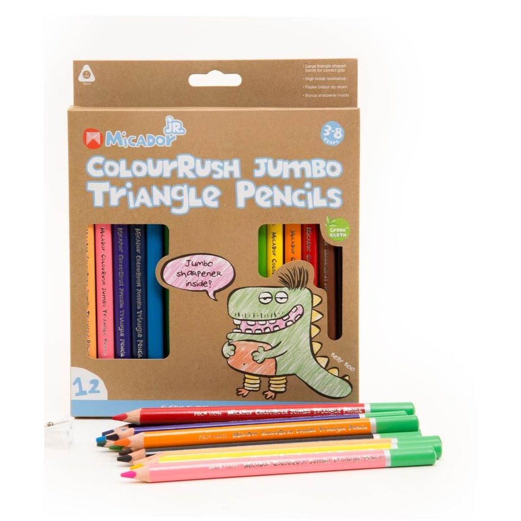 A boxed set of 12 triangle grip coloured pencils. Pack includes a jumbo sharpener,.