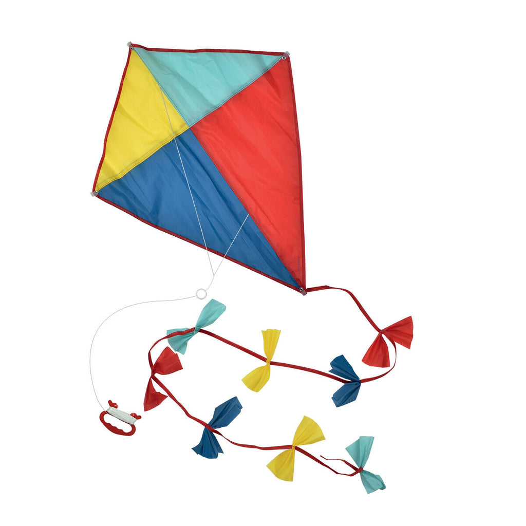 A traditional single line diamond shaped kite featuring primary colours and a tail with bows,