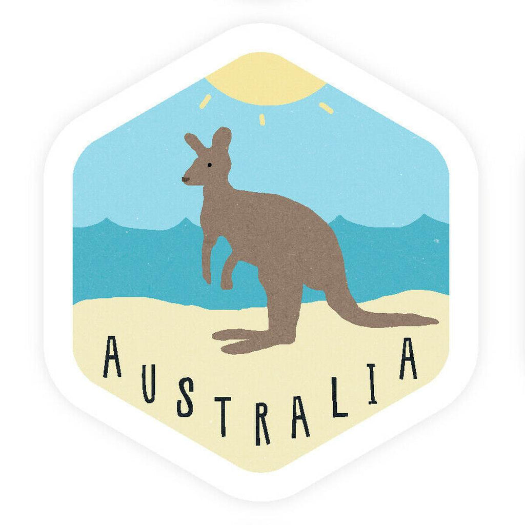 A hexagonal Vinyl bumper sticker with a vintage Style illustration of a kangaroo on a beach.