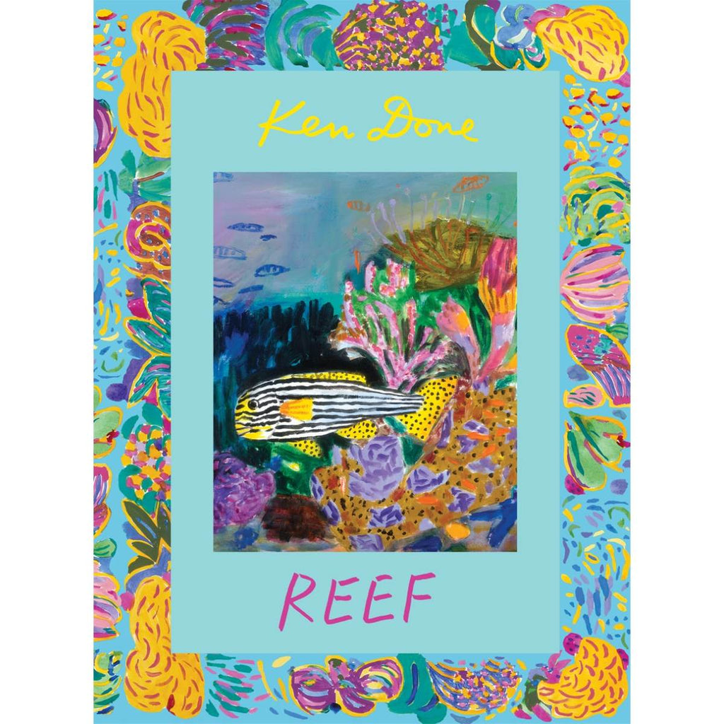 A brightly coloured book cover featuring cover art by artist Ken Done. The centre image shows a black and white striped fish in a rainbow coloured reef setting.