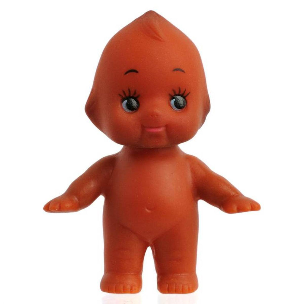 A vintage style Kewpie doll, shown standing with arms upraised. The doll has a brown skin tone, is nude, cherub- like and features large eyes with distinct eyelashes.