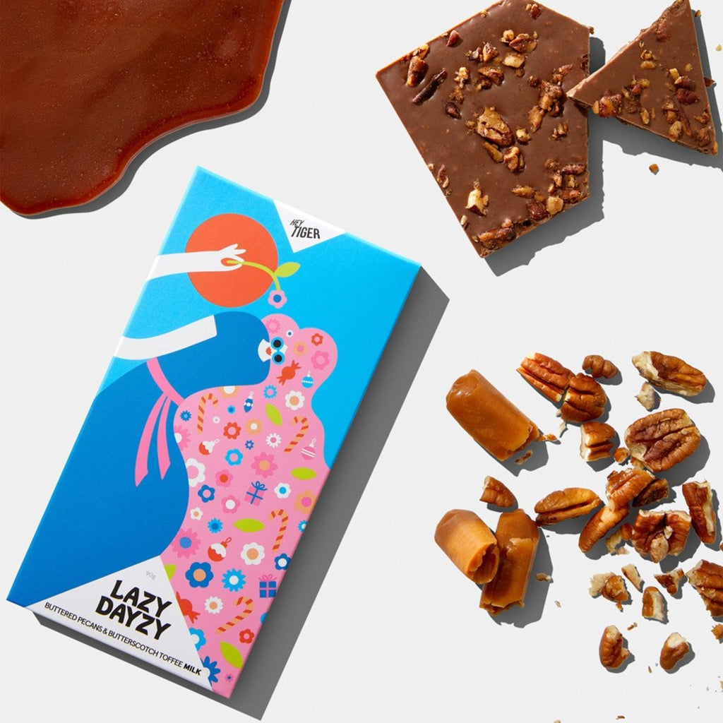 Hey Tiger Chocolate | Lazy Dayzy | Buttered Pecans & Butterscotch Toffee Milk Chocolate | 90g