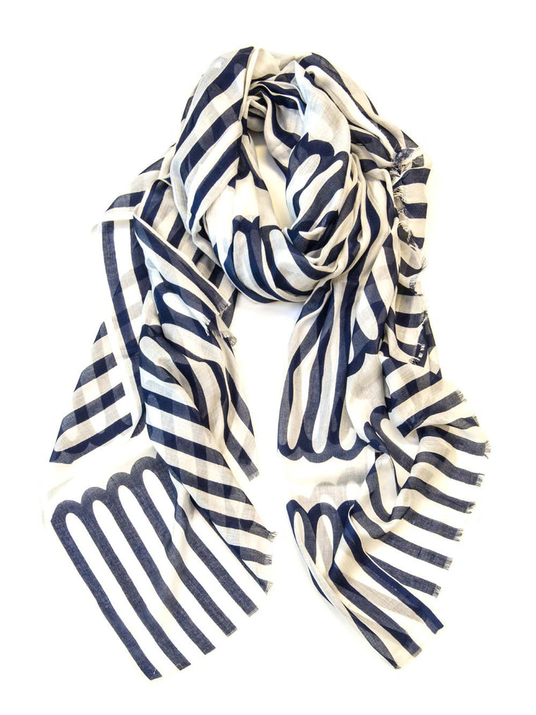 Scarf Long Loop Indigo/White