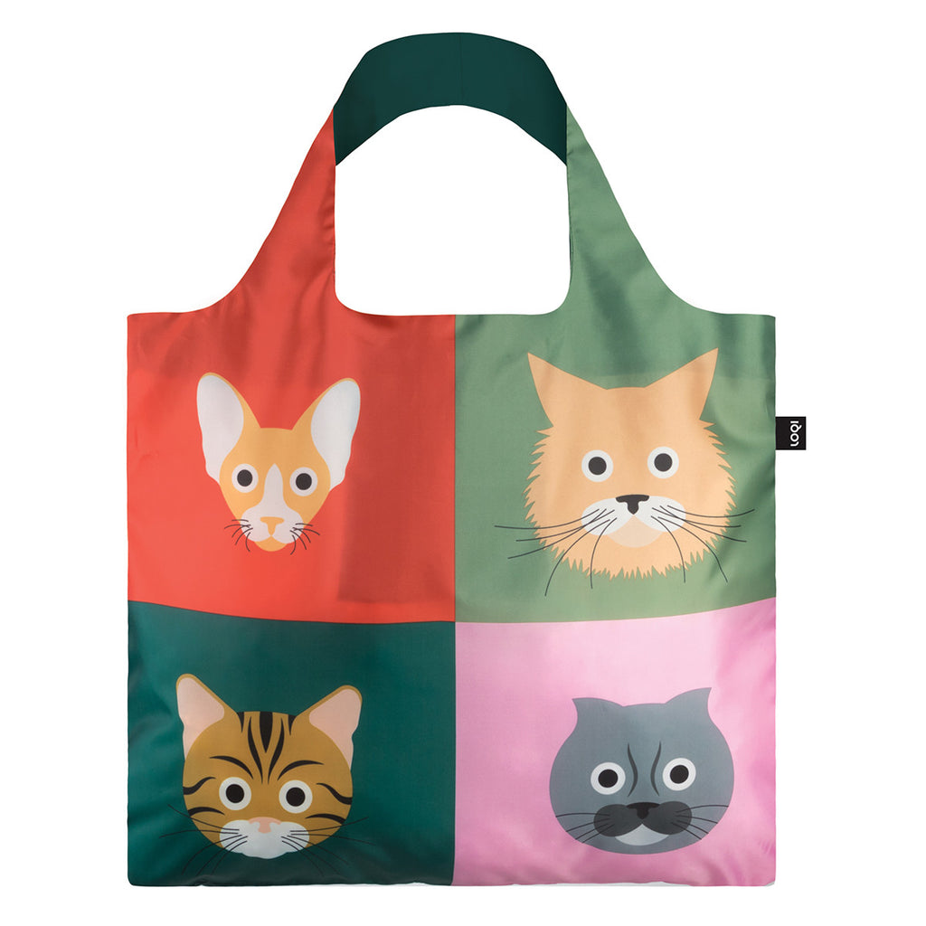 The reverse side of a multicoloured Shopping Bag rolled up featuring a print of four different illustrated cat breeds.