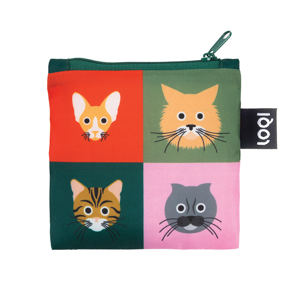 Additional zippered pouch with matching cat print and green zipper