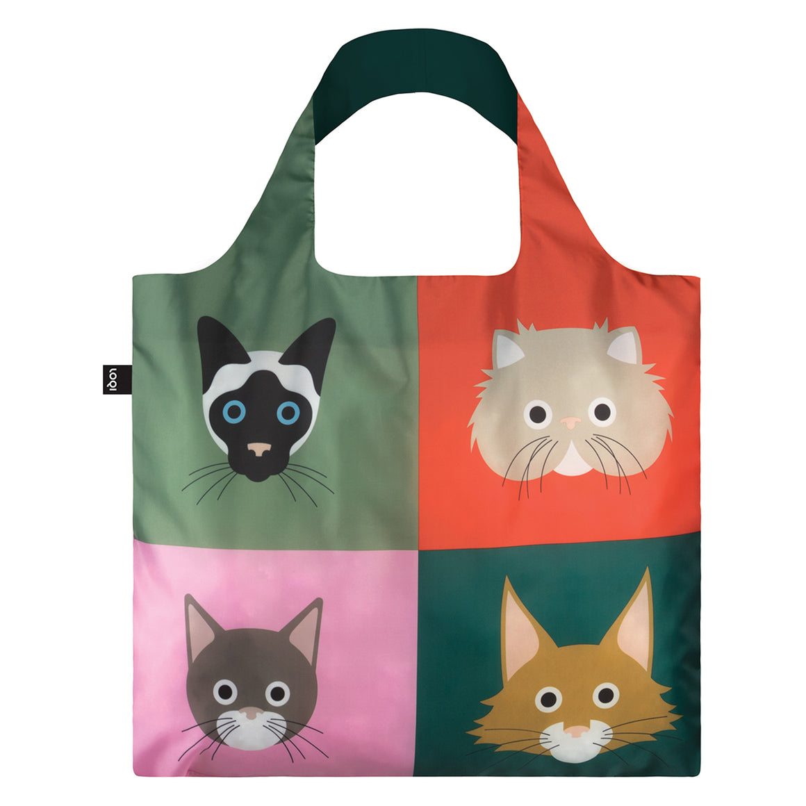 A multicoloured Shopping Bag rolled up featuring a print of four illustrated cat breeds.