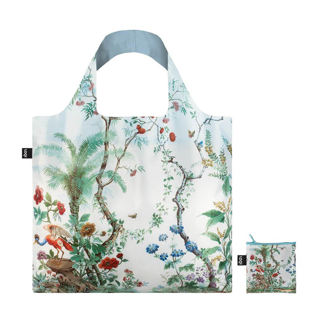 A multicoloured Shopping Bag featuring a print of flora and fauna in the style of Chinese decor. With a matching Zippered Pouch.