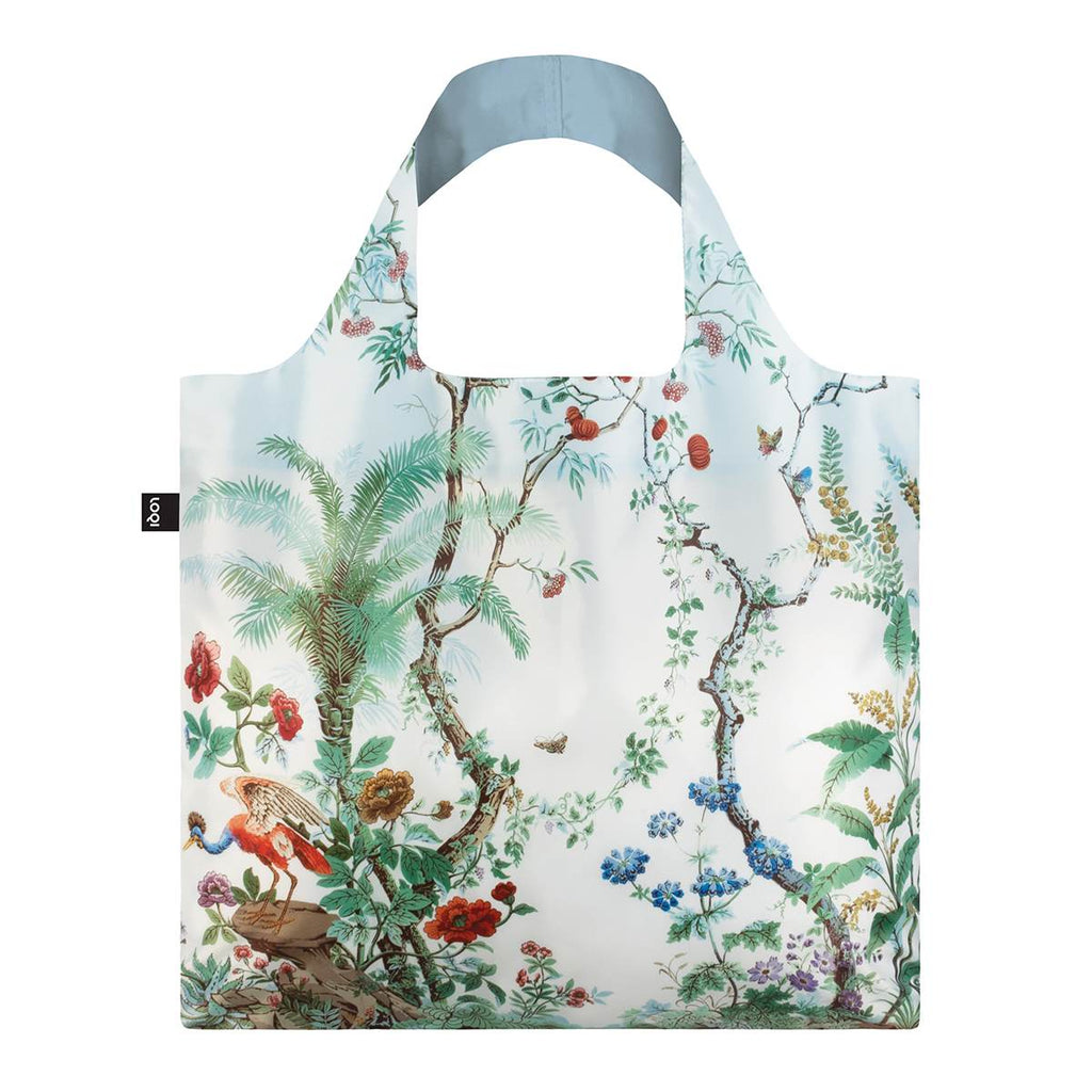 A multicoloured Shopping Bag featuring a print of flora and fauna in the style of Chinese decor