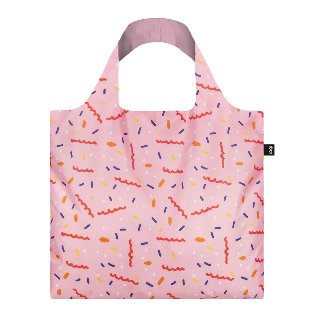 The Reverse side of a a pastel Pink Shopping Bag featuring a different stylised abstract print of confetti.