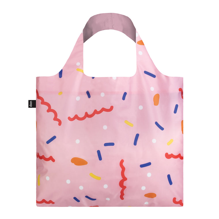 A pastel Pink Shopping Bag featuring a stylised abstract print of confetti.