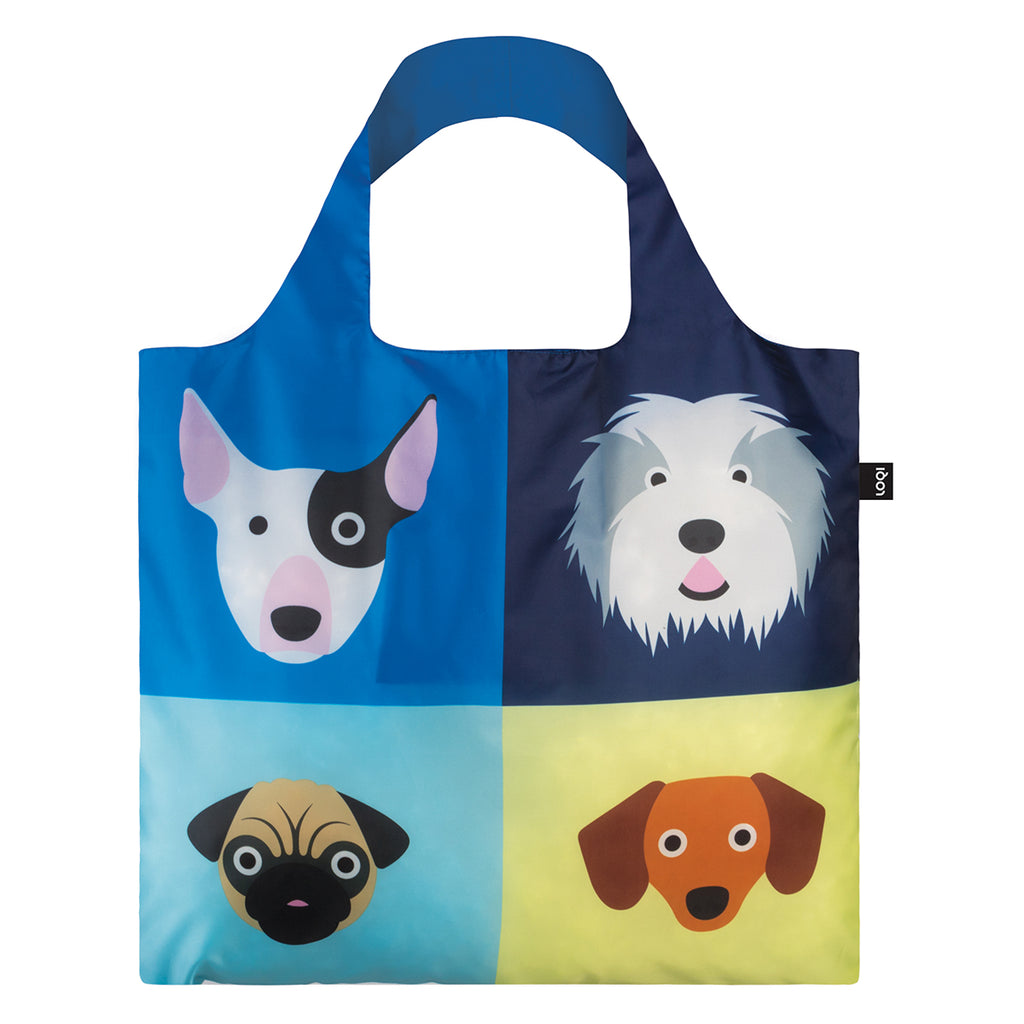 A multicoloured Shopping Bag rolled up featuring a print of four illustrated dog breeds.