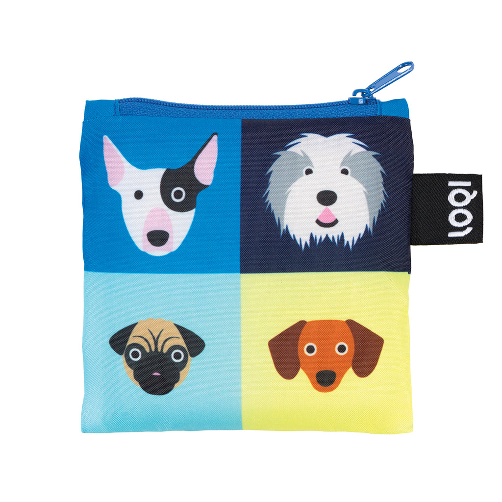Additional zippered pouch with matching dog print and blue zipper