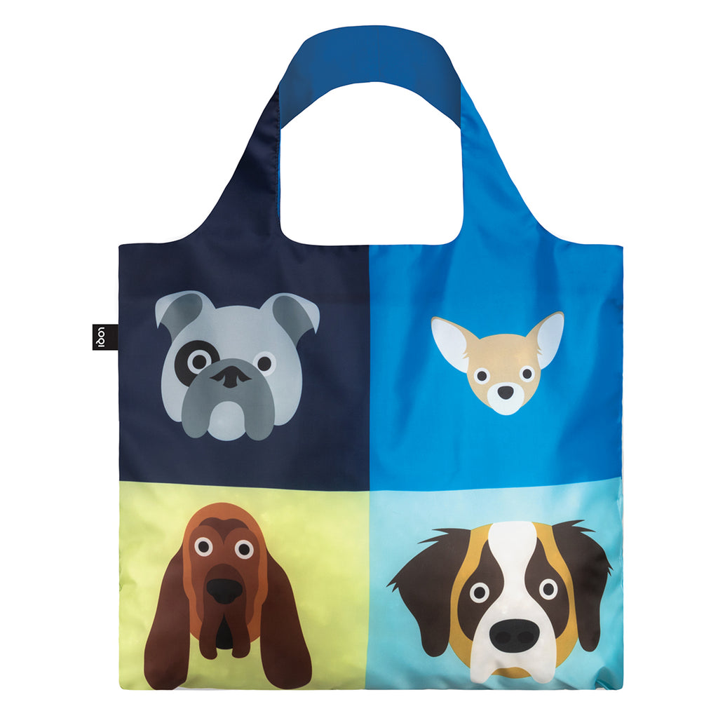 The reverse side of a multicoloured Shopping Bag rolled up featuring a print of four different illustrated dog breeds.