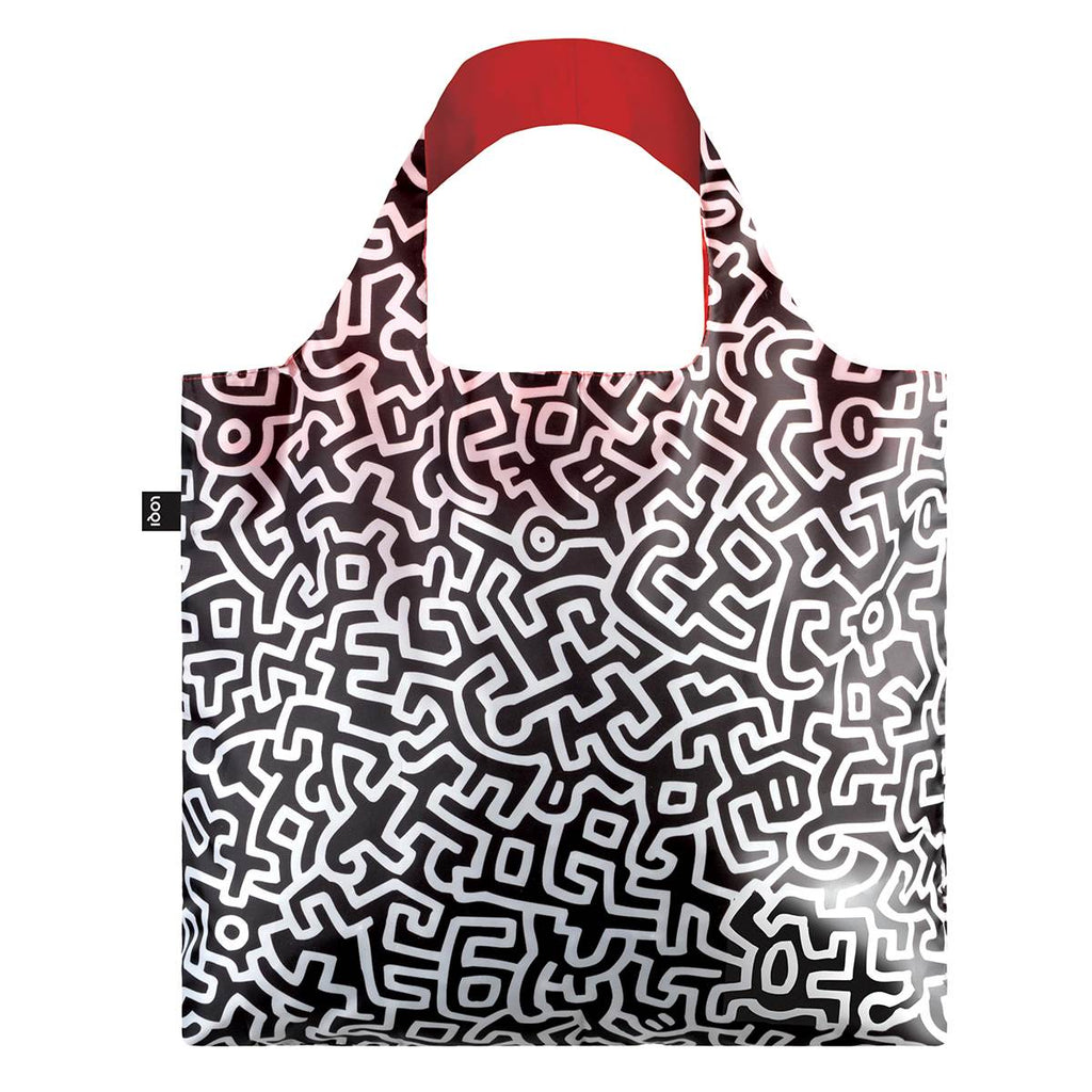 A black and white Shopping Bag featuring a graphic abstract print by Keith Haring.