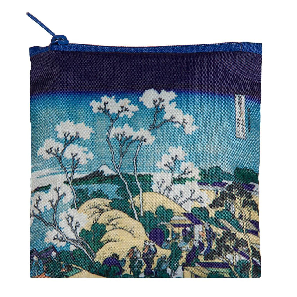 Additional zippered pouch with matching Mt. Fuji print and blue zip