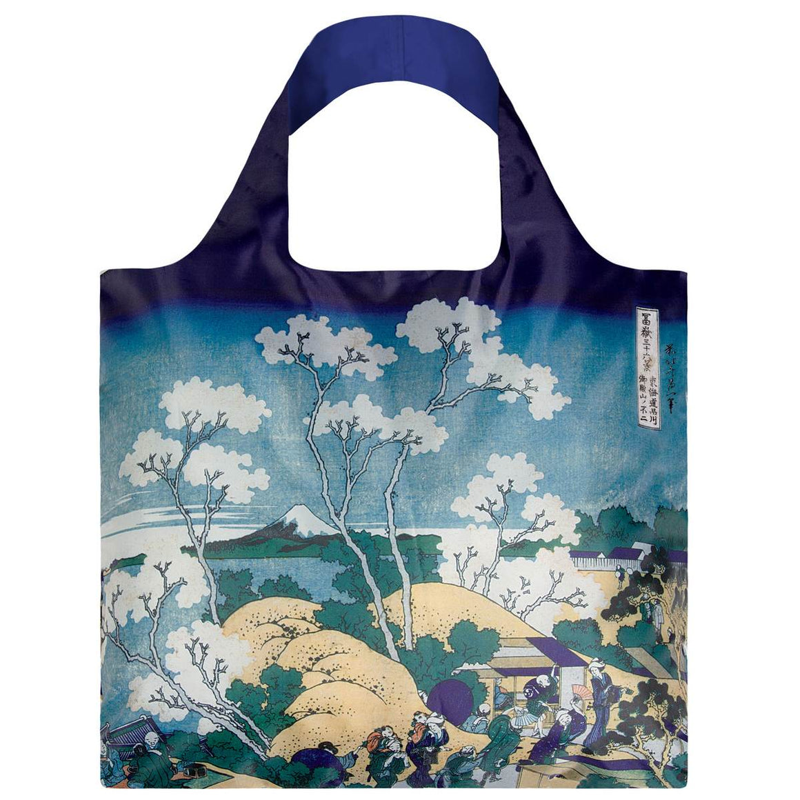 A Blue toned shopping bag with a Japanese print of a tree and a view of Mt. Fuji by Hokusai