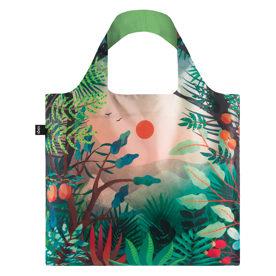 A multicoloured Shopping Bag featuing an image of a lush rainforest and mountain vista
