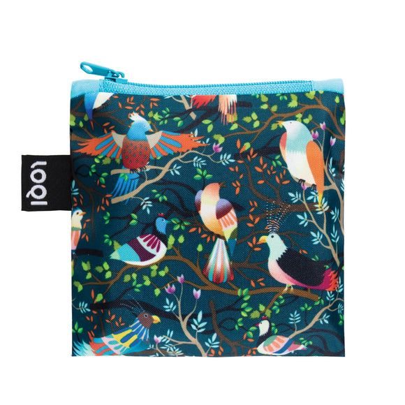 A multicoloured Shopping Bag featuring a stylised image of tropical birds and branches.