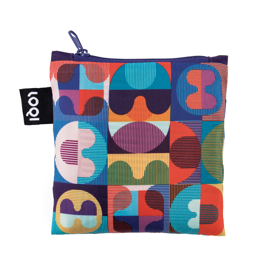 Additional zippered pouch with matching  vibrant geometric grid and line pattern and a dark blue zip