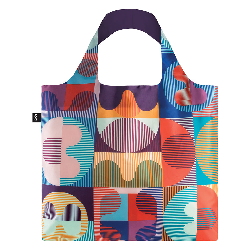 A multicoloured Shopping Bag featuring the a vibrant geometric grid and line pattern.