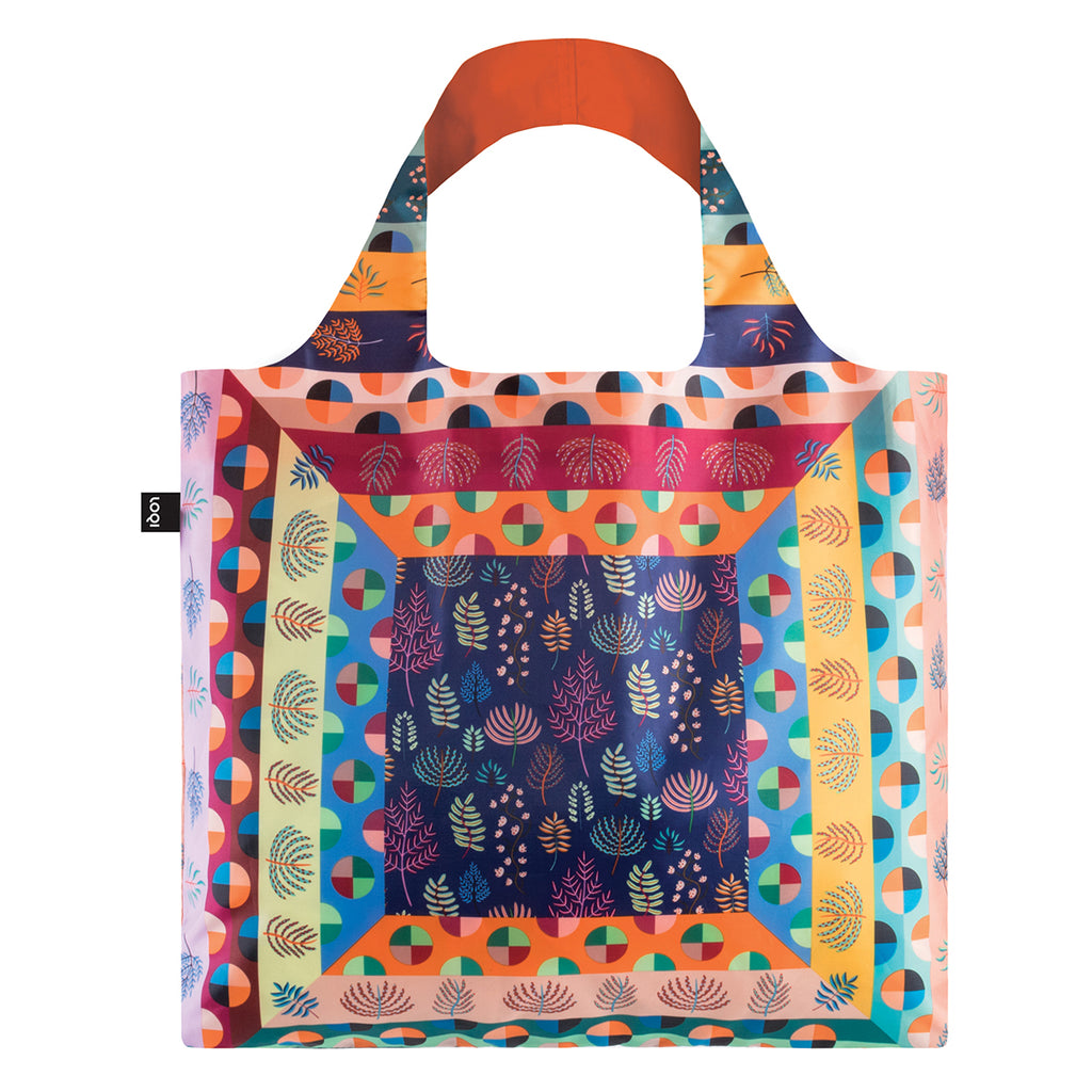 A vibrant multicoloured Shopping Bag featuring a geometric print. The print features multicoloured circles and leaves.