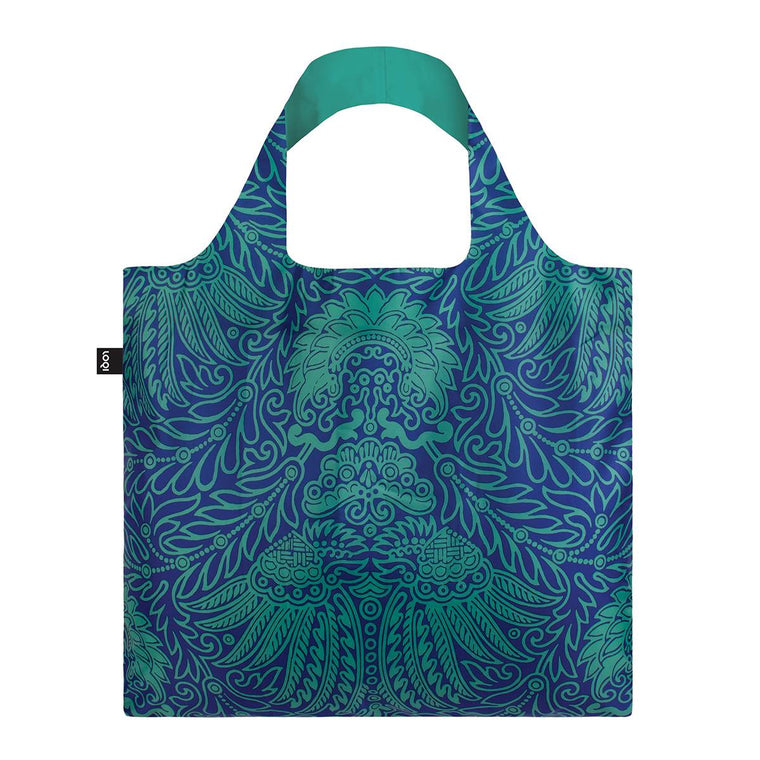 A blue and green toned  Shopping Bag featuring a vintage intricate wallpaper print in the style of Japanese decor