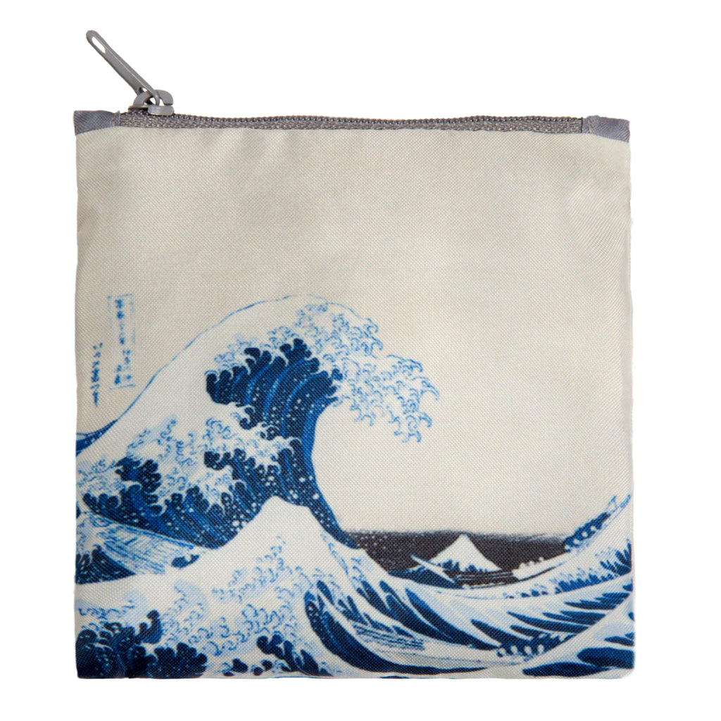 Additional zippered pouch with matching great wave  print and grey zip
