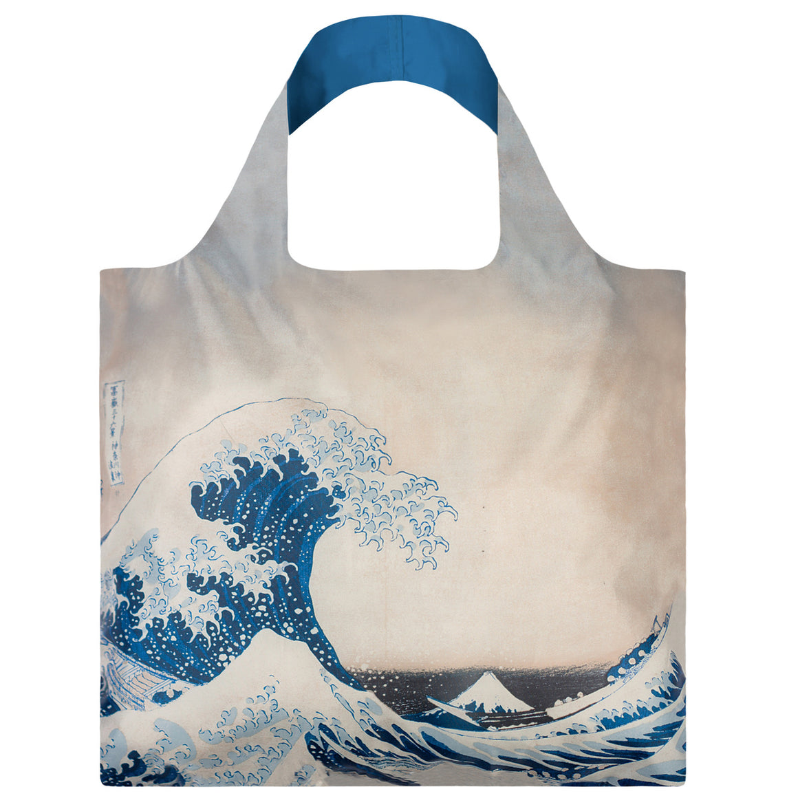 A Blue and white Shopping Bag featuring the iconic print of the Great Wave, or a tsunami by Hokusai