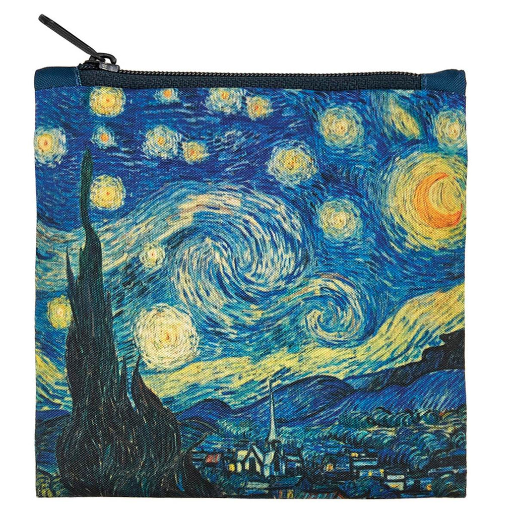 Additional zippered pouch with matching Starry Night print and black zip