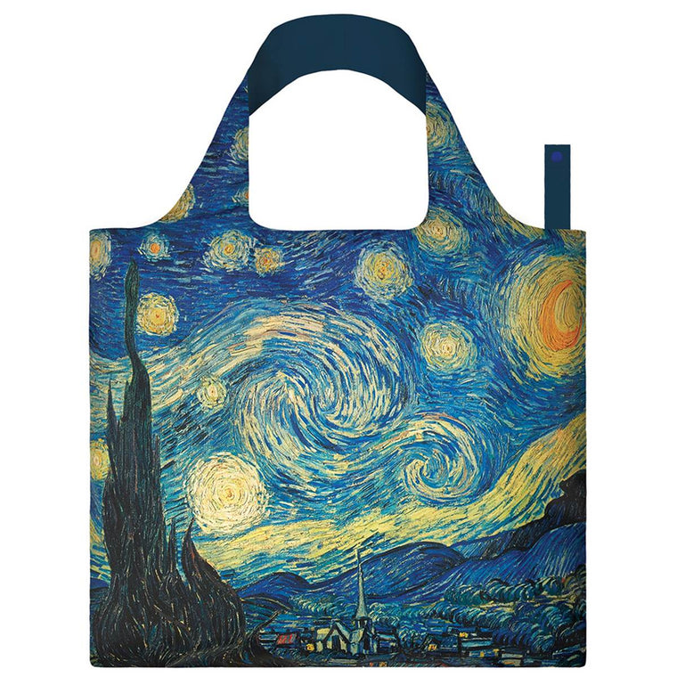A Blue and yellow Shopping Bag featuring Van Gogh's painting Starry Night. A beautiful nighttime village scene with swirling stars above.