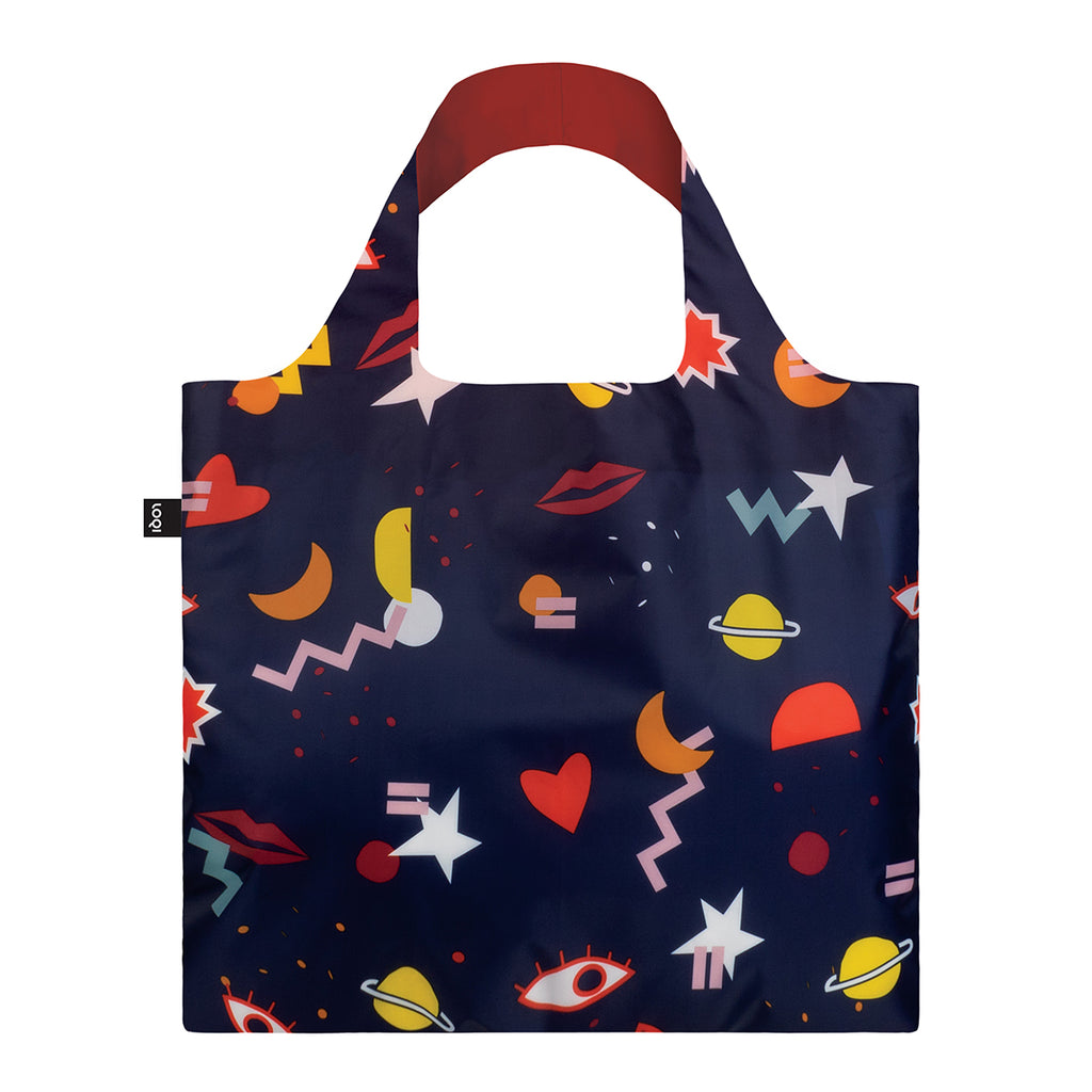 A dark blue background Shopping Bag featuring the  colourful graphic printed shapes including eyes, moons, hearts, planets, lips and other shapes.