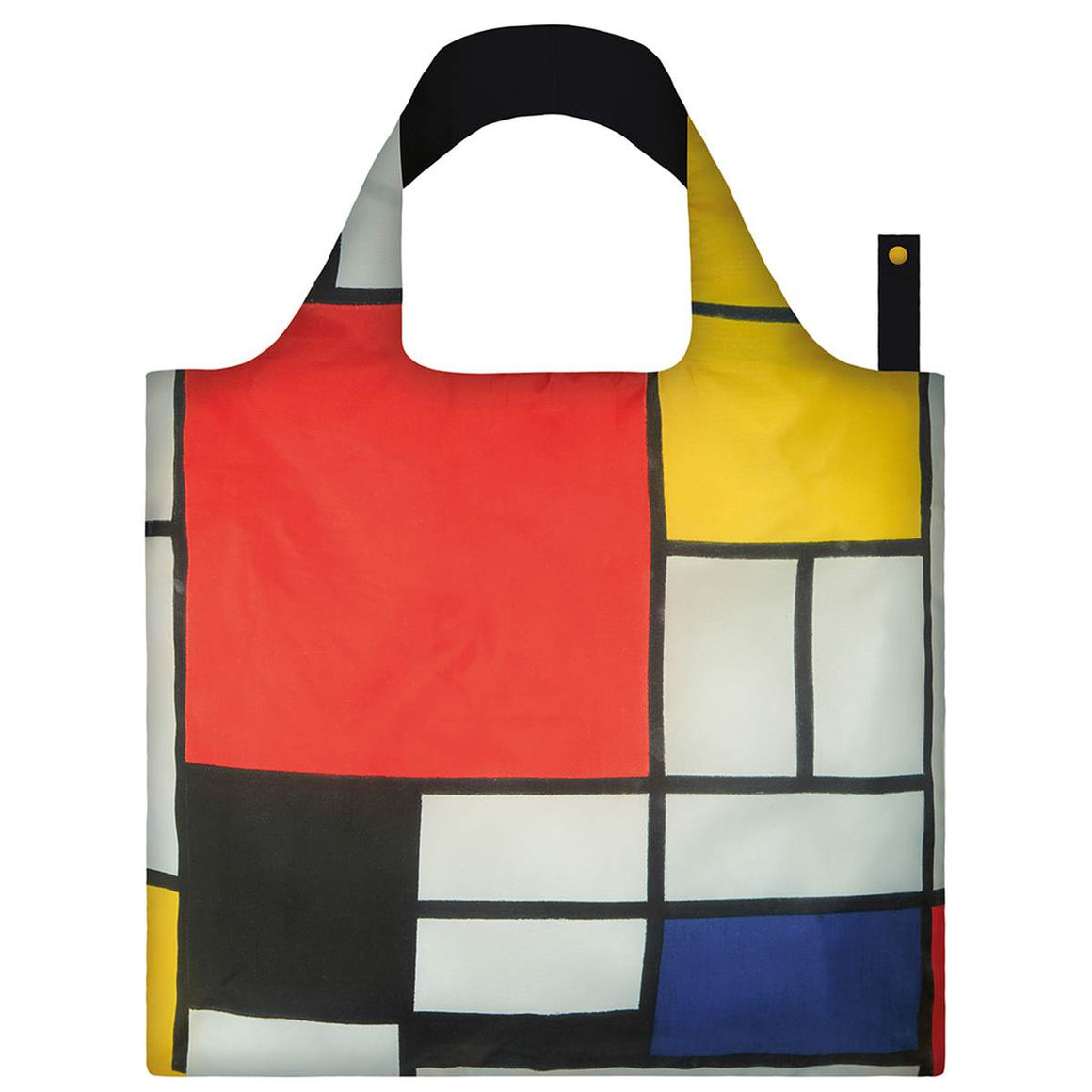 A primary coloured Shopping Bag featuring a print Piet Mondrian's Composition painting