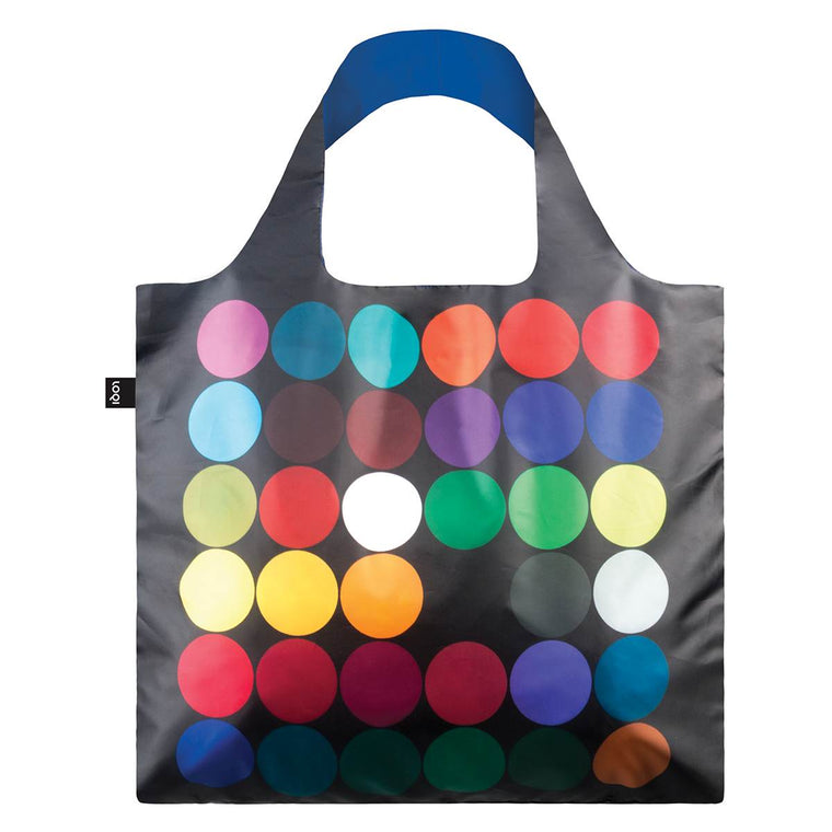 A Black Shopping Bag with 26 rainbow coloured dots.