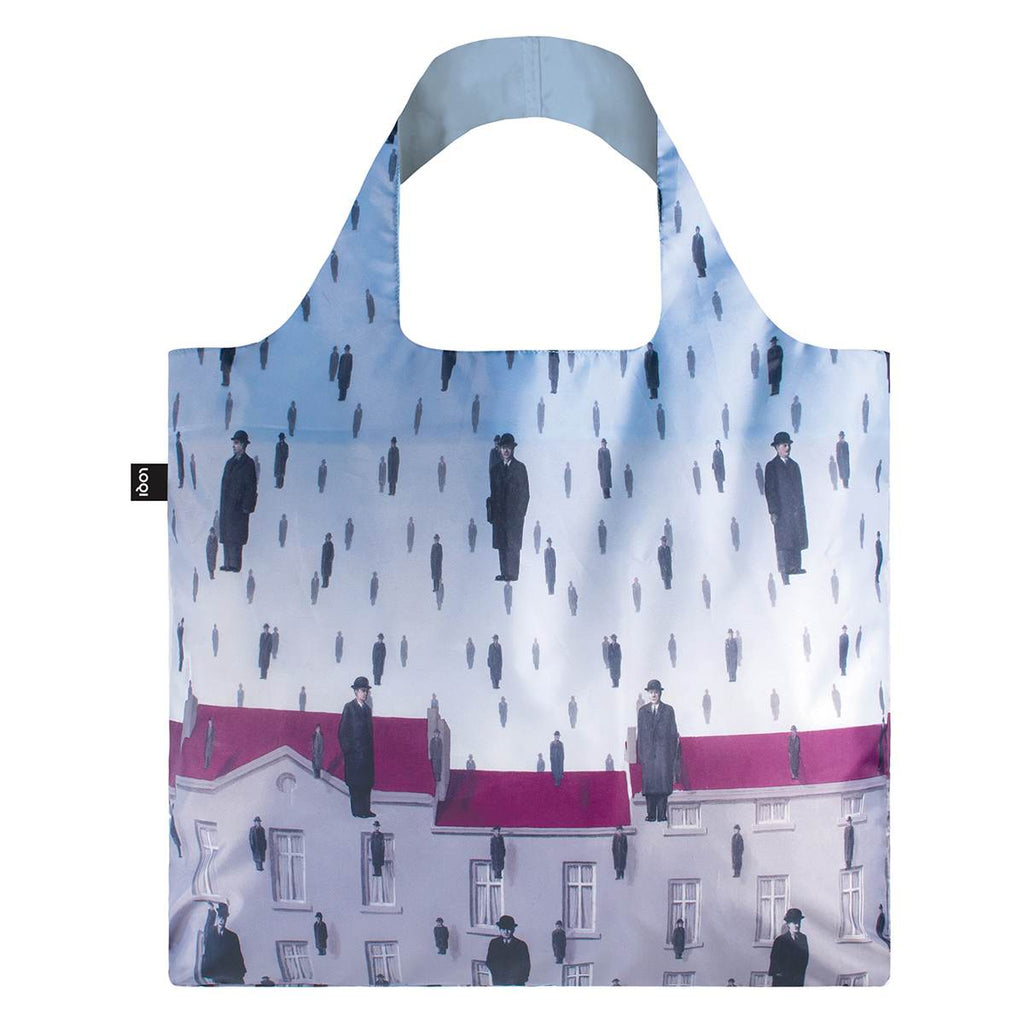 A Blue Shopping Bag featuring a Rene Magritte Painting entitled Golconda. There is a row of red terrace houses. Men in bowler hats float in the sky