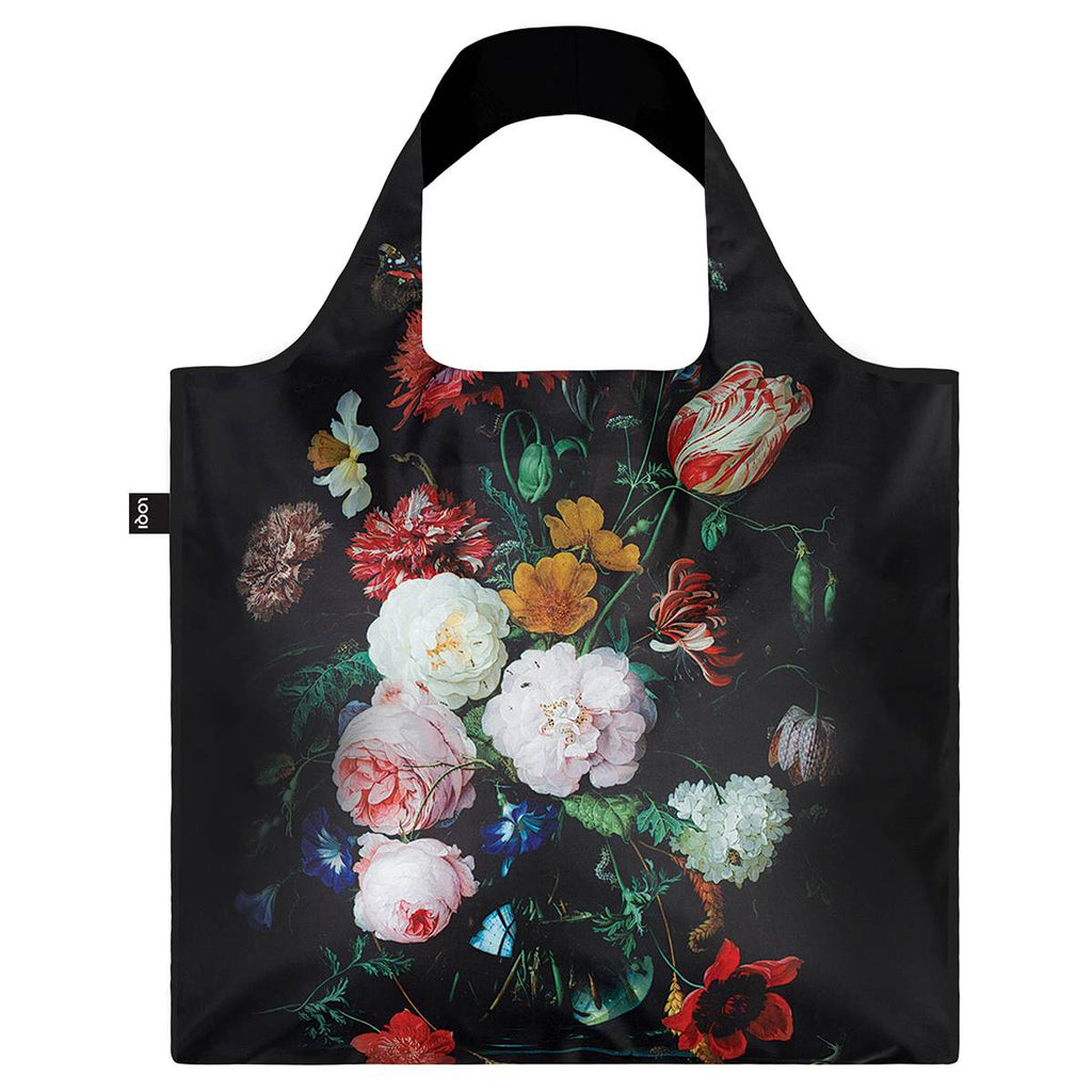 A Black background Shopping Bag featuring the a colourful still life painting of flowers and plants life in a vase.