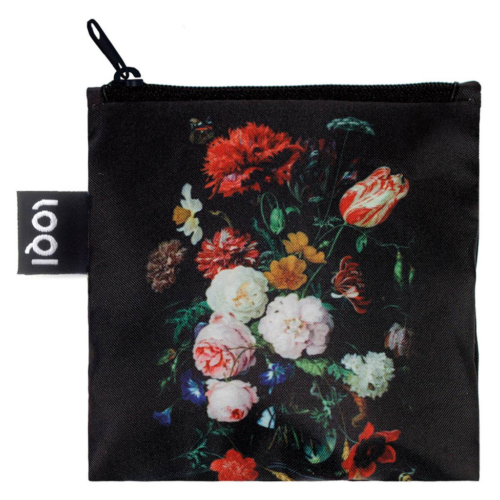 Additional zippered pouch with matching Still life print and a black zip