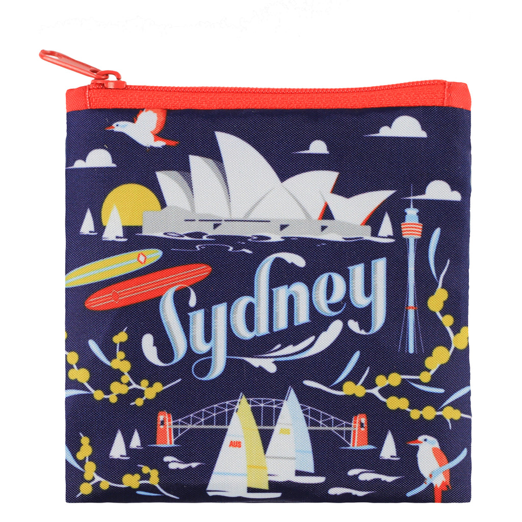 Additional zippered pouch with matching Sydney print and red zip
