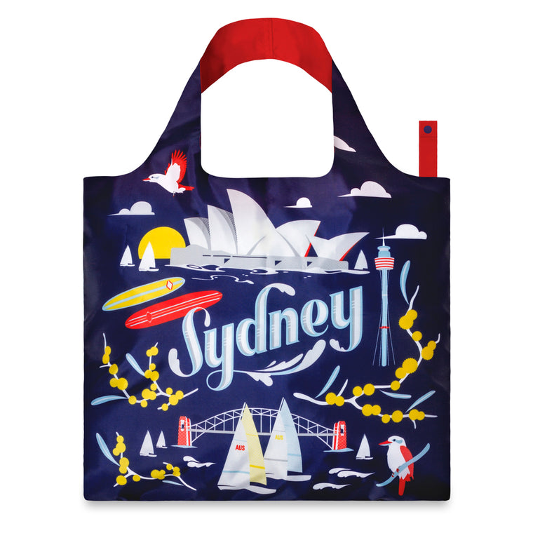 A shopping bag made featuring a stylised print of Sydney Landmarks. The word Sydney is central surrounded by Australian flora and fauna, buildings and icons. Primary colours are predominantly used.