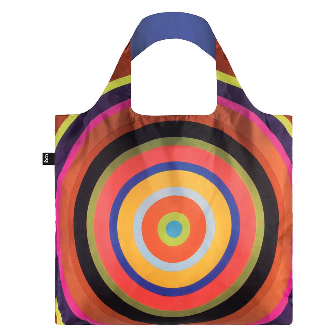 A multicoloured Shopping Bag featuring a vibrant Target print by Poul Germes. The colours a warm, vibrant, and contrasting.