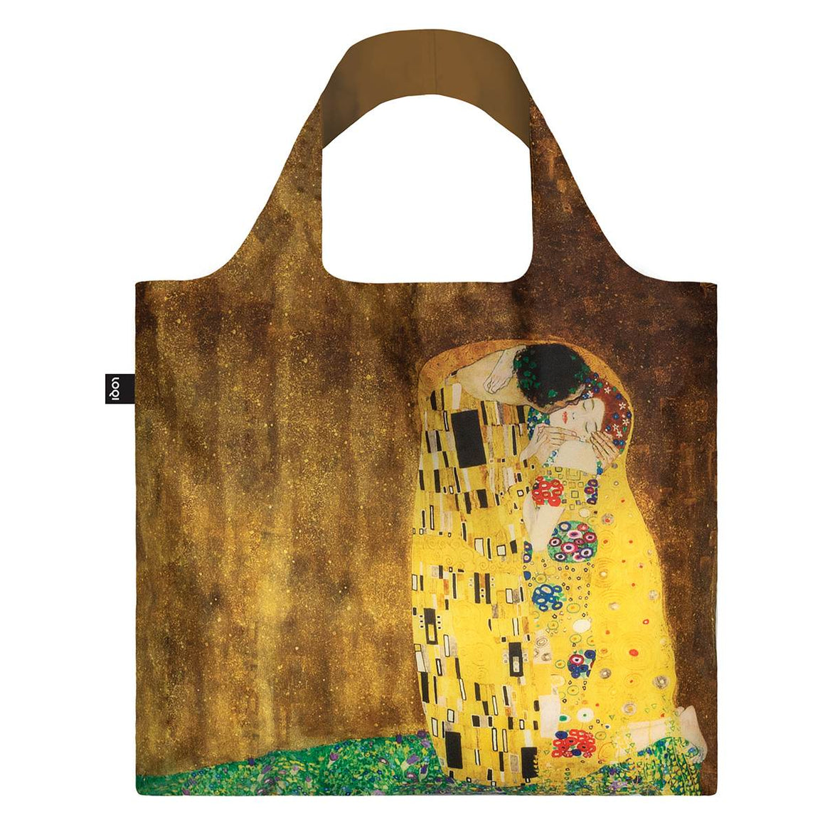 A Brown and yellow Shopping Bag featuring a Gustav Klimt Painting entitled the Kiss. A highly decorative image of a man kissing a woman.