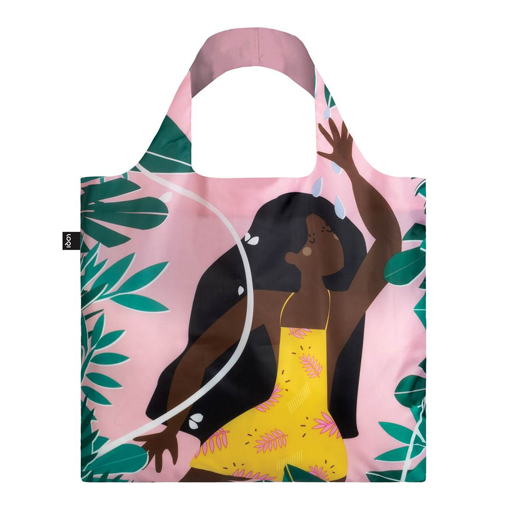 A multicoloured Shopping Bag featuring a bold image of a jungle fairy. A long haired woman in a yellow apron dress, surrounded by tropical leaves, on a pastel pink background.