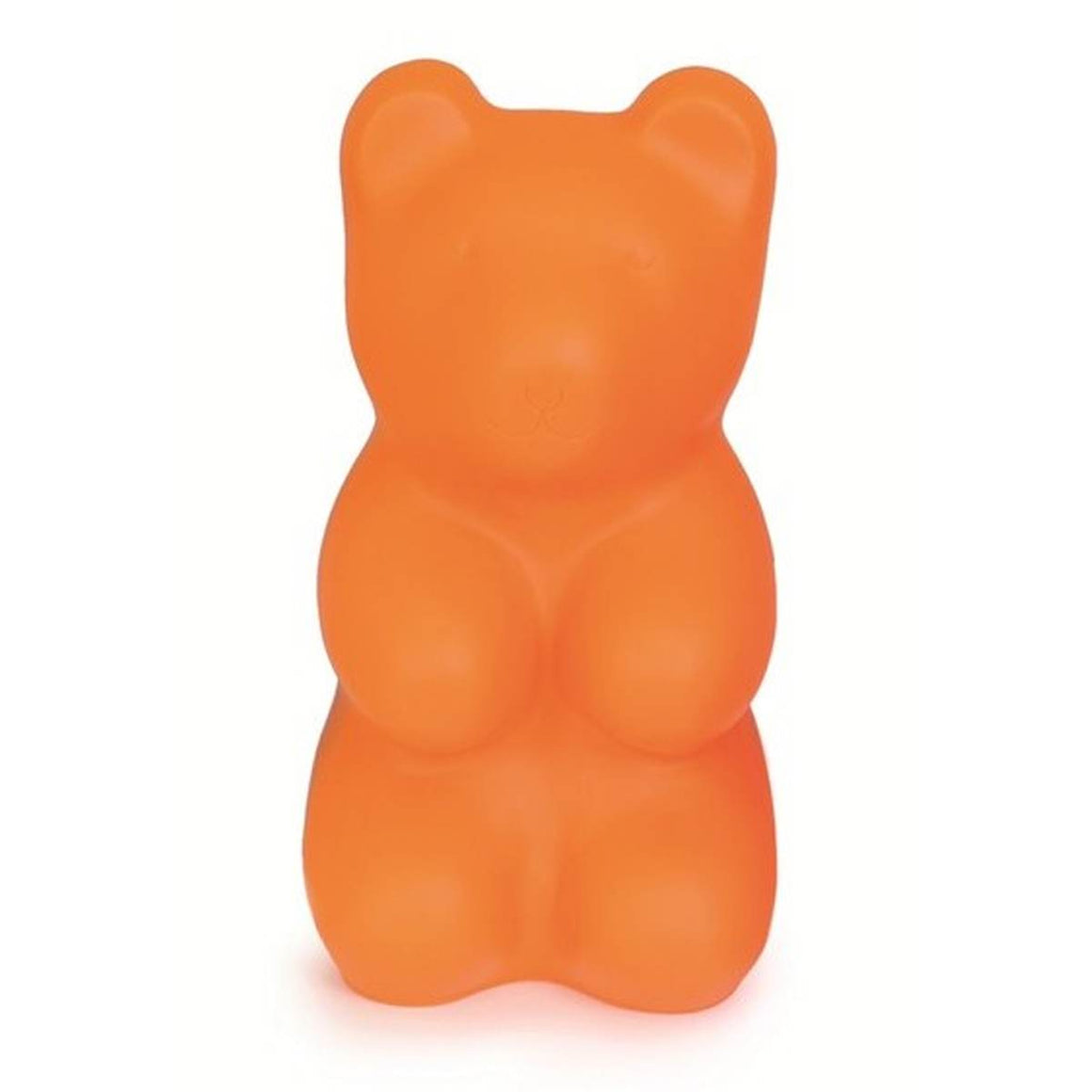 A large orange plastic moulded night light in the shape of an oversized gummy bear.
